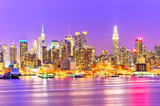 View of the Manhattan skyline at night