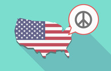 USA Map With A Peace Sign