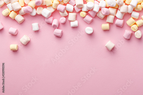 Garden Poster Candy Colorful marshmallows background with copy space. Top view