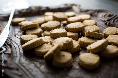 Tuinposter Koekjes Tahini shortbread cookies, close-up