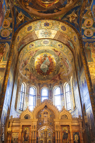 Fototapeta  The interior of the Church of the Savior on Blood in Saint-Petersburg, Russia