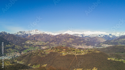 Fotografie, Obraz  Wonderful aerial landscape on Orobie Alps, Valle Gandino and Valle Seriana from Altino place