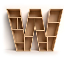 Shelf Font 3d Rendering Letter W