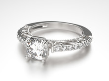 3D Illustration Silver Ring With Diamonds
