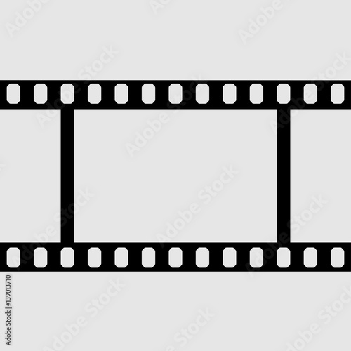 Fototapeta eps 10 vector vintage film strip frame isolated on gray background. 35 mm width perforated emplty editable film, add any text, image. Profesional cinematorgrafy tool. Small format photos movie film obraz na płótnie