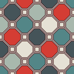 Fototapeta Repeated octagons stained glass mosaic background. Retro ceramic tiles. Seamless pattern with geometric ornament.