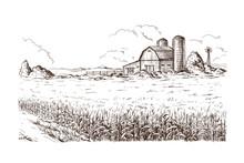 Hand Drawn Vector Illustration Sketch Rural Landscape Field House Granary
