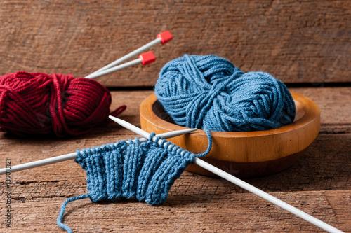 Fotografie, Obraz  knitting wool yarn