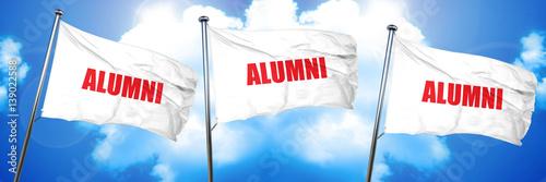 Photo alumni, 3D rendering, triple flags