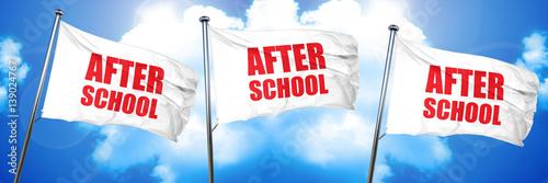 Photo after school, 3D rendering, triple flags