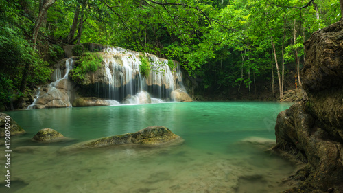 Fototapety, obrazy: Green nature with green waterfall landscape, Erawan waterfall located Khanchanaburi Province, Thailand
