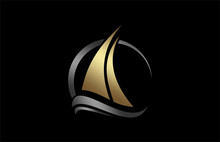 Boat Icon In Gold And Metal Co...