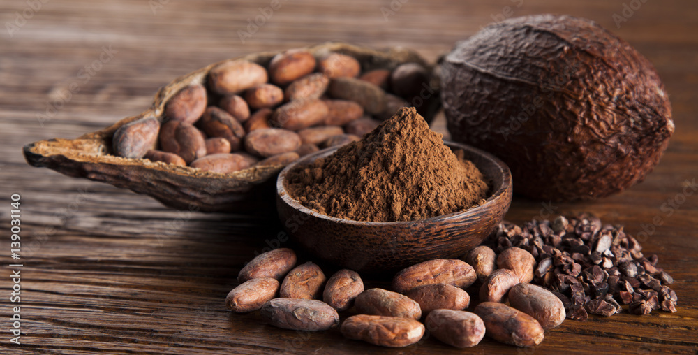 Fototapety, obrazy: Aromatic cocoa, powder and food dessert background