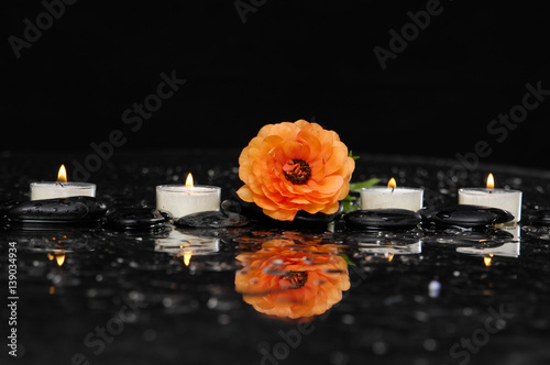 Poster Spa Spa still life with orange ranunculus and four candle on pebbles