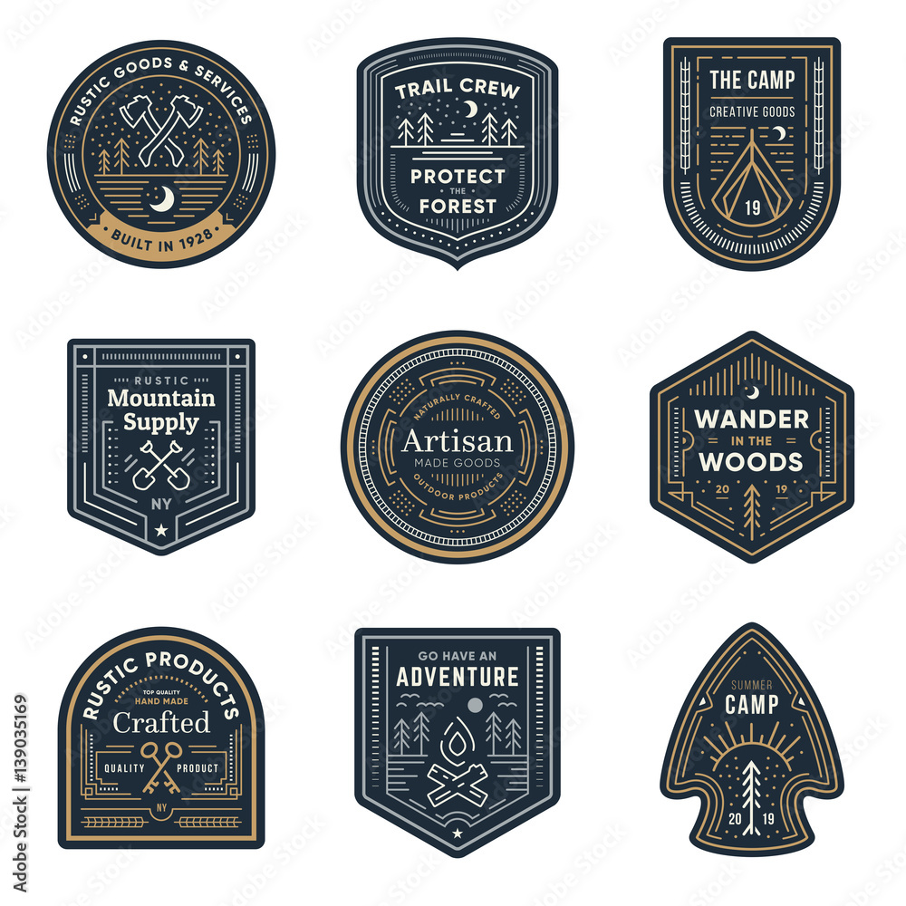 Fototapety, obrazy: Vintage outdoor camp badges