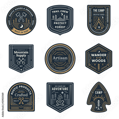 Vintage outdoor camp badges Wallpaper Mural