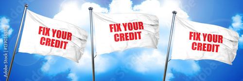 Fotografía  fix your credit, 3D rendering, triple flags