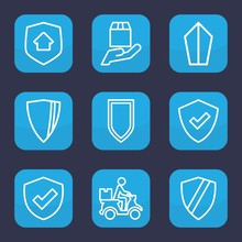 Set Of 9 Outline Shield Icons