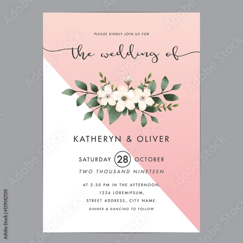 Fototapeta Modern And Clean Wedding Invitation Card Template With Bouquet Flower Vector Illustration