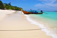 Long Tale Boat On Sea Beach And Blue Sky At Phuket Thailand , Beautiful Beach, Summer Concept, Sea And Sand, Traveling,wave