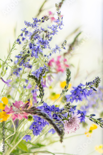 Foto op Canvas Lavendel bouquet of gentle wild flowers