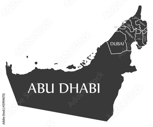 United Arab Emirates Map labelled black illustration Wallpaper Mural