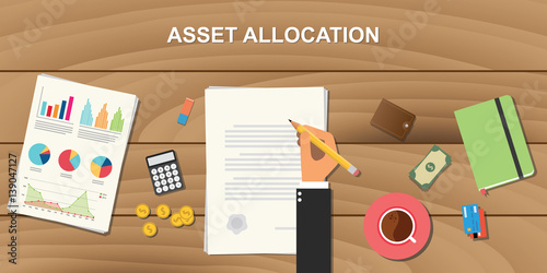 Photo asset allocation concept illustration with business man working on paper documen