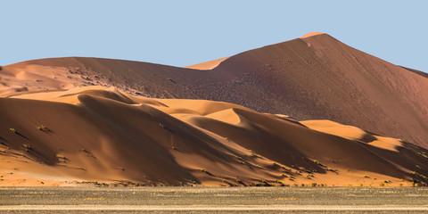 Fototapeta na wymiar Sand dunes at Sossusvlei in the Namib Desert against blue sky, Namibia, Africa