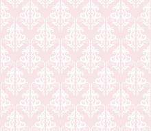 Damask Seamless Pattern Background. Pastel Pink And White. Vintage. For Wedding Design.