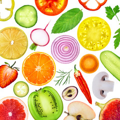 Panel Szklany Warzywa Fresh fruit and vegetables slices. Food background.