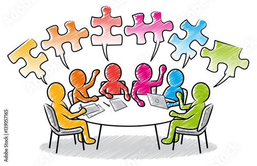 Obraz Farbige Strichmännchen: Meeting am runden Tisch mit Puzzleteil-Sprechblasen - fototapety do salonu