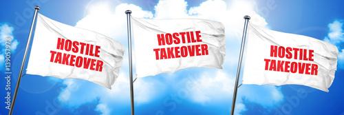 Fotografie, Obraz  hostile takeover, 3D rendering, triple flags