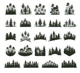 Tree outdoor travel black silhouette coniferous natural badges, tops pine spruce branch cedar and plant leaf abstract stem drawing vector illustration.
