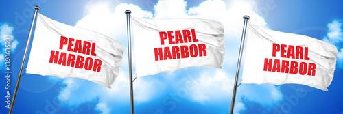pearl harbor, 3D rendering, triple flags Poster