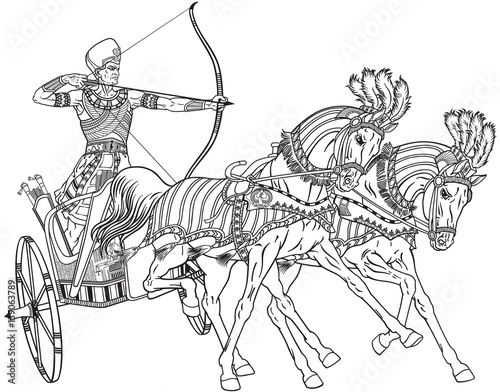 Ancient Egypt Two Wheeled Chariot Pulled By Two Horses Carrying A