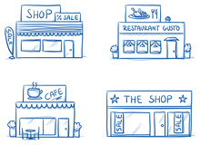 Set Of Different Shop And Restaurant Buildings, Cafe, Store. Hand Drawn Cartoon Vector Illustration.