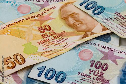 Turkish lira banknotes Canvas Print