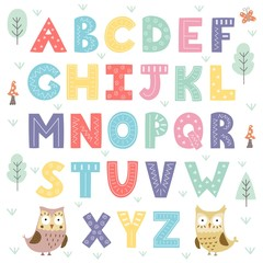 Naklejka Funny forest alphabet for kids