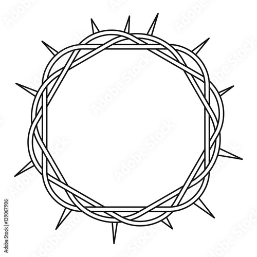 Crown of thorns icon , outline style Fototapet