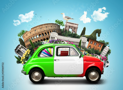 Fotografiet  Italy, attractions Italy and retro italian car