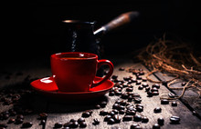Black Coffee In A Red Cup, Black Background