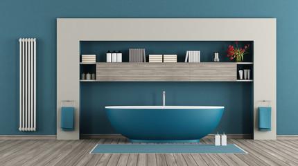 Fototapeta na wymiar Blue modern bathroom