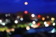 Abstract bokeh multi-color city blurred elevated night view for background with copy space for add text