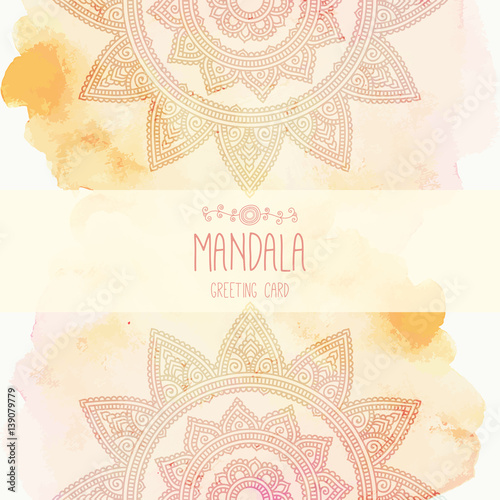 Hand Drawn Mandala On The Watercolor Background Round