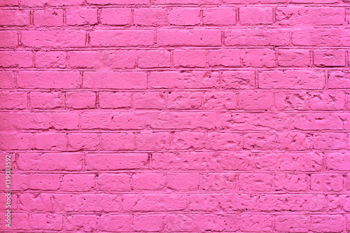 Fotobehang Graffiti Grunge pink brick wall as background, texture