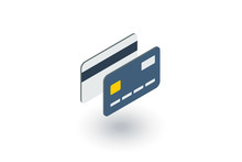 Bank Card Isometric Flat Icon....