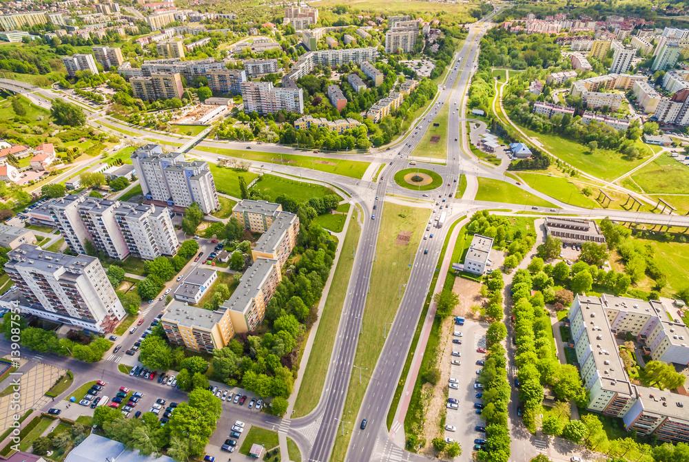 Fototapety, obrazy: Lublin - Dzielnica Czuby z lotu ptaka. Rondo na ulicy Jan Pawła II