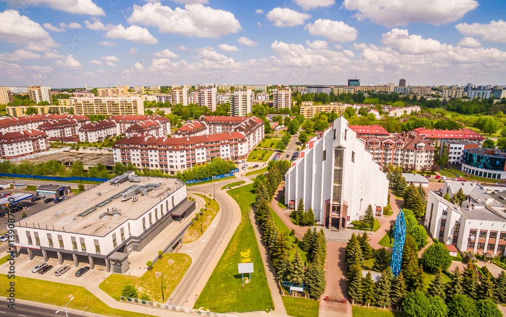 Fototapety, obrazy: Lublin z lotu ptaka. Kościół przy ulicy Jana Pawła II w Lublinie