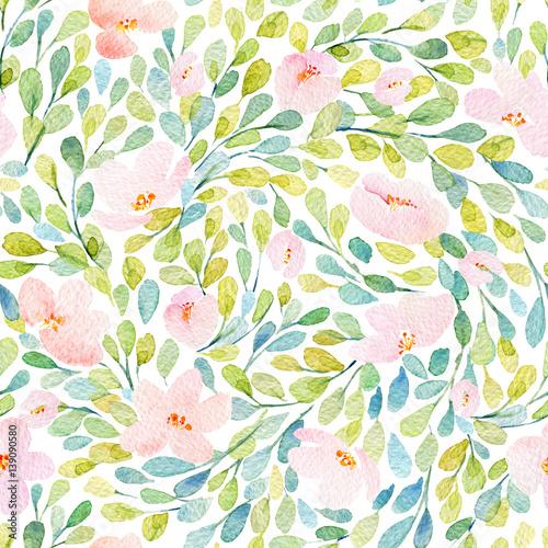 Stoffe zum Nähen Nahtlose Muster mit schönen rosa Blüten. Aquarell Bild. Komposition mit floralen Elementen.