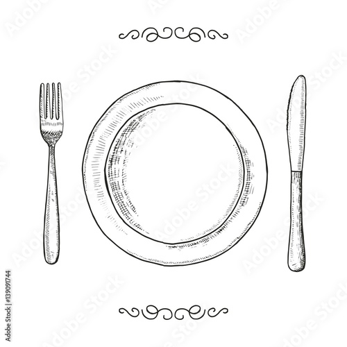 Fotografie, Obraz  Dish fork and knife sketch. utensils vector vintage illustration